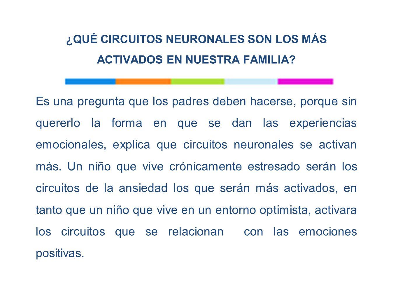 ¿QUÉ CIRCUITOS NEURONALES SON LOS MÁS ACTIVADOS EN NUESTRA FAMILIA.