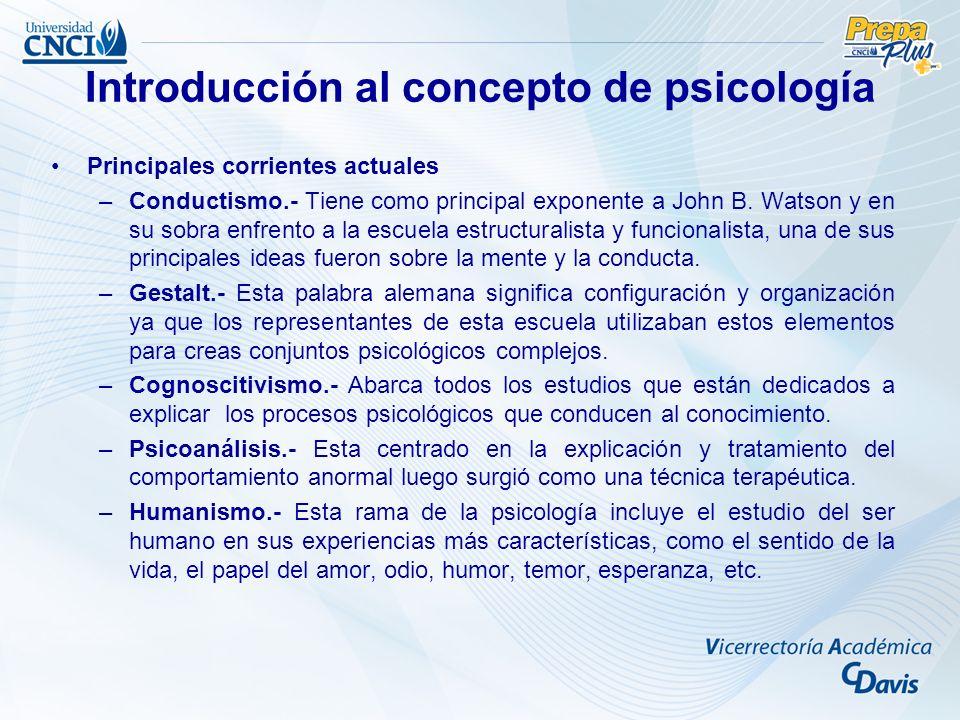 Principales corrientes actuales –Conductismo.- Tiene como principal exponente a John B.