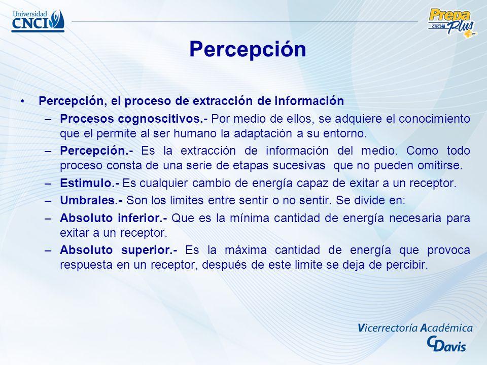Percepción Percepción, el proceso de extracción de información –Procesos cognoscitivos.- Por medio de ellos, se adquiere el conocimiento que el permite al ser humano la adaptación a su entorno.