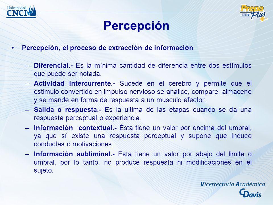 Percepción, el proceso de extracción de información –Diferencial.- Es la mínima cantidad de diferencia entre dos estímulos que puede ser notada.