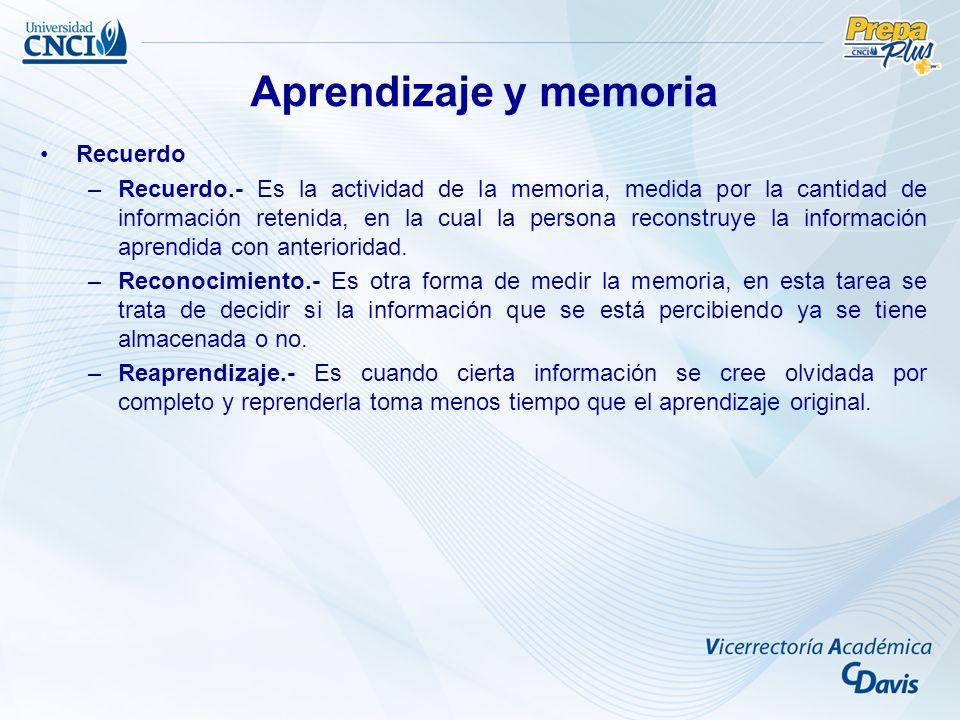 Aprendizaje y memoria Recuerdo –Recuerdo.- Es la actividad de la memoria, medida por la cantidad de información retenida, en la cual la persona reconstruye la información aprendida con anterioridad.