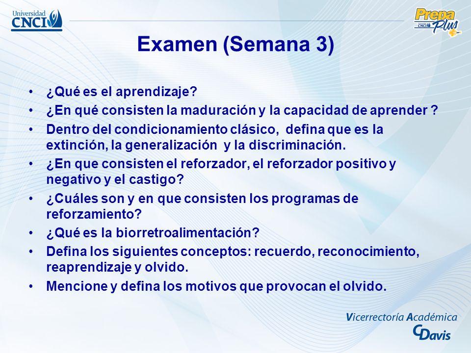 Examen (Semana 3) ¿Qué es el aprendizaje.