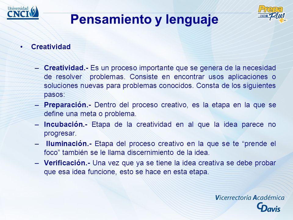 Creatividad –Creatividad.- Es un proceso importante que se genera de la necesidad de resolver problemas.