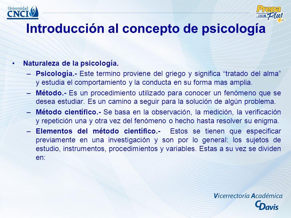 Introducción al concepto de psicología Naturaleza de la psicología.