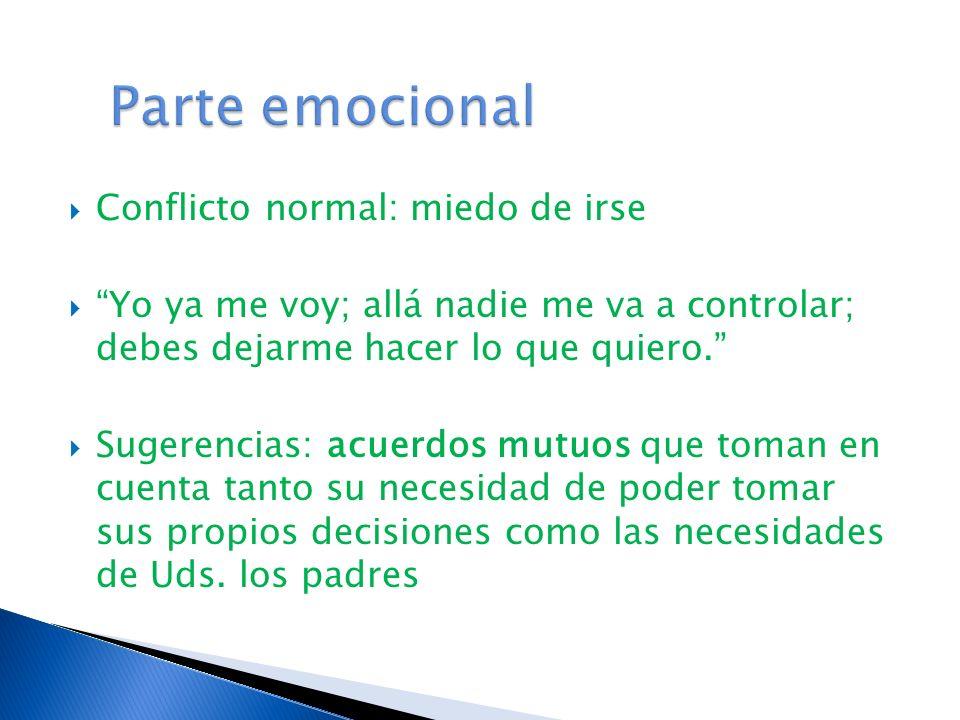 Conflicto normal: miedo de irse Yo ya me voy; allá nadie me va a controlar; debes dejarme hacer lo que quiero.