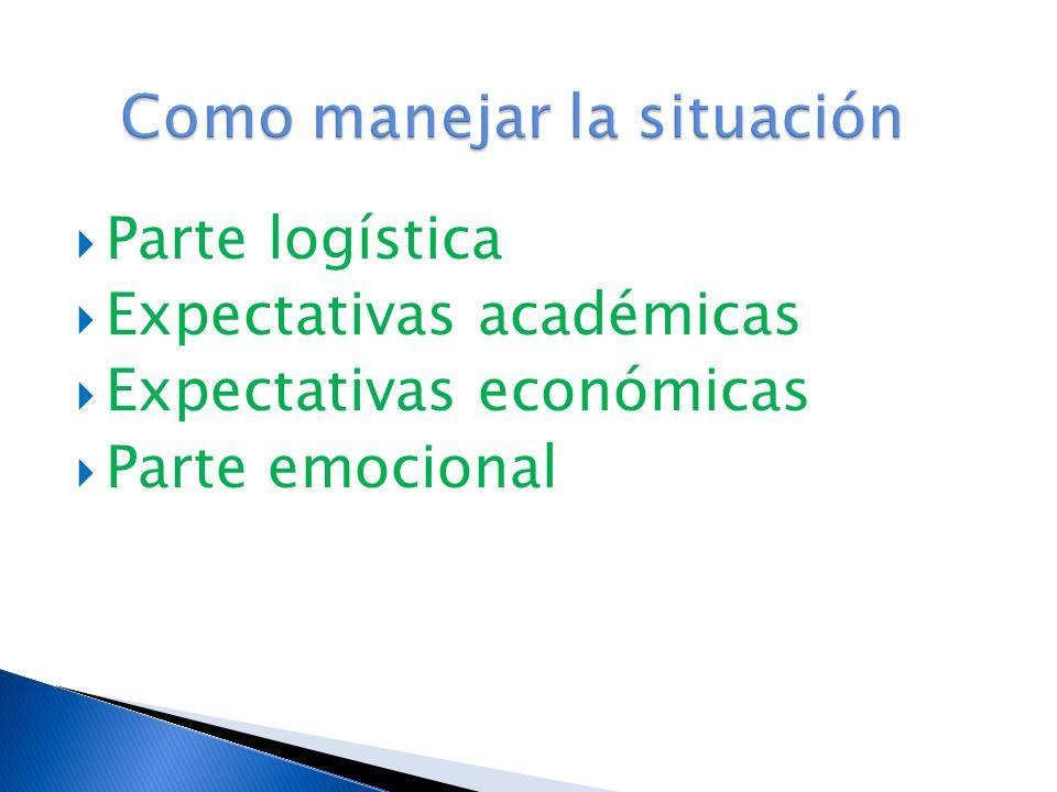 Parte logística Expectativas académicas Expectativas económicas Parte emocional
