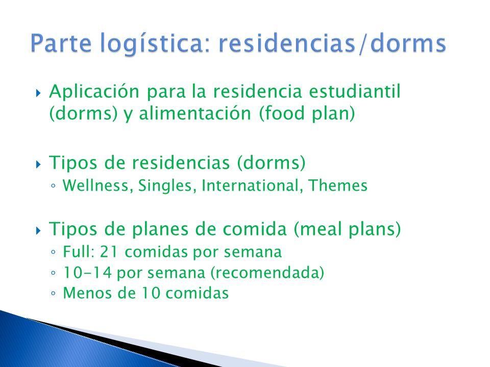 Aplicación para la residencia estudiantil (dorms) y alimentación (food plan) Tipos de residencias (dorms) Wellness, Singles, International, Themes Tipos de planes de comida (meal plans) Full: 21 comidas por semana 10-14 por semana (recomendada) Menos de 10 comidas