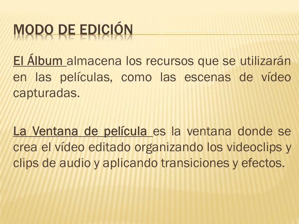El Álbum almacena los recursos que se utilizarán en las películas, como las escenas de vídeo capturadas. La Ventana de película es la ventana donde se