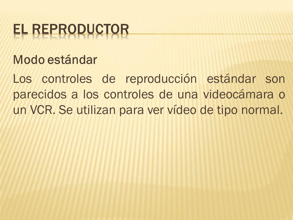 Modo estándar Los controles de reproducción estándar son parecidos a los controles de una videocámara o un VCR. Se utilizan para ver vídeo de tipo nor