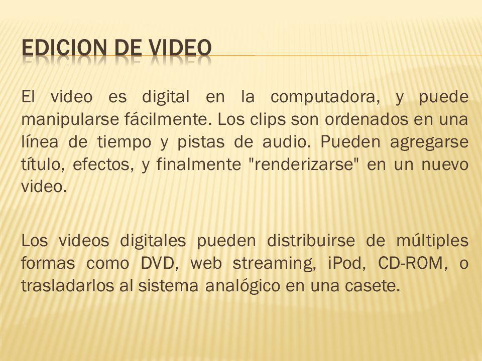 El video es digital en la computadora, y puede manipularse fácilmente. Los clips son ordenados en una línea de tiempo y pistas de audio. Pueden agrega