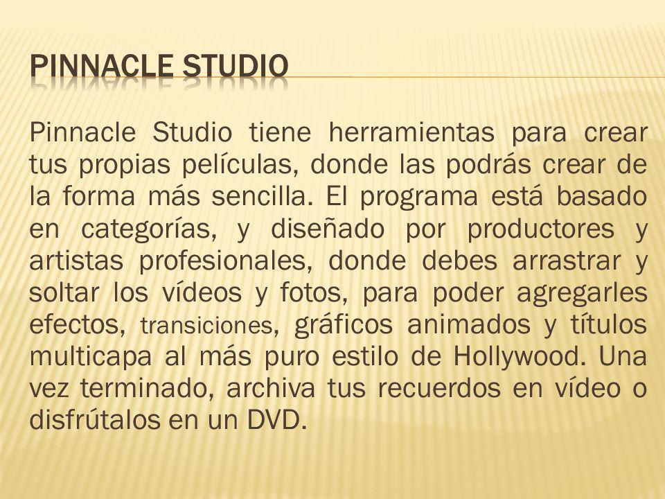 Pinnacle Studio tiene herramientas para crear tus propias películas, donde las podrás crear de la forma más sencilla. El programa está basado en categ