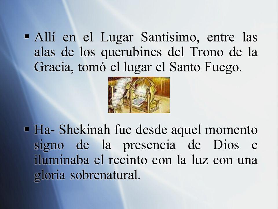 Allí en el Lugar Santísimo, entre las alas de los querubines del Trono de la Gracia, tomó el lugar el Santo Fuego. Ha- Shekinah fue desde aquel moment