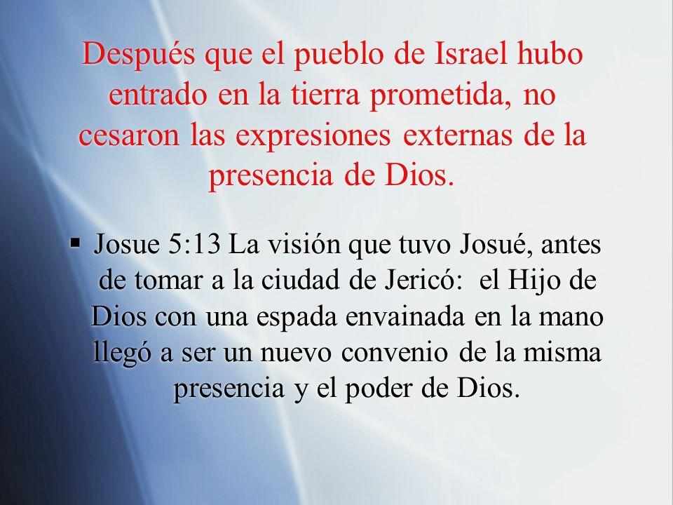 Después que el pueblo de Israel hubo entrado en la tierra prometida, no cesaron las expresiones externas de la presencia de Dios. Josue 5:13 La visión