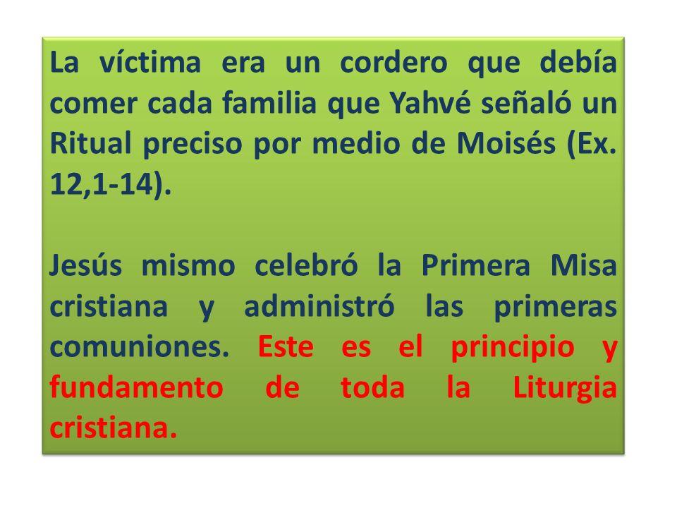 La víctima era un cordero que debía comer cada familia que Yahvé señaló un Ritual preciso por medio de Moisés (Ex. 12,1-14). Jesús mismo celebró la Pr
