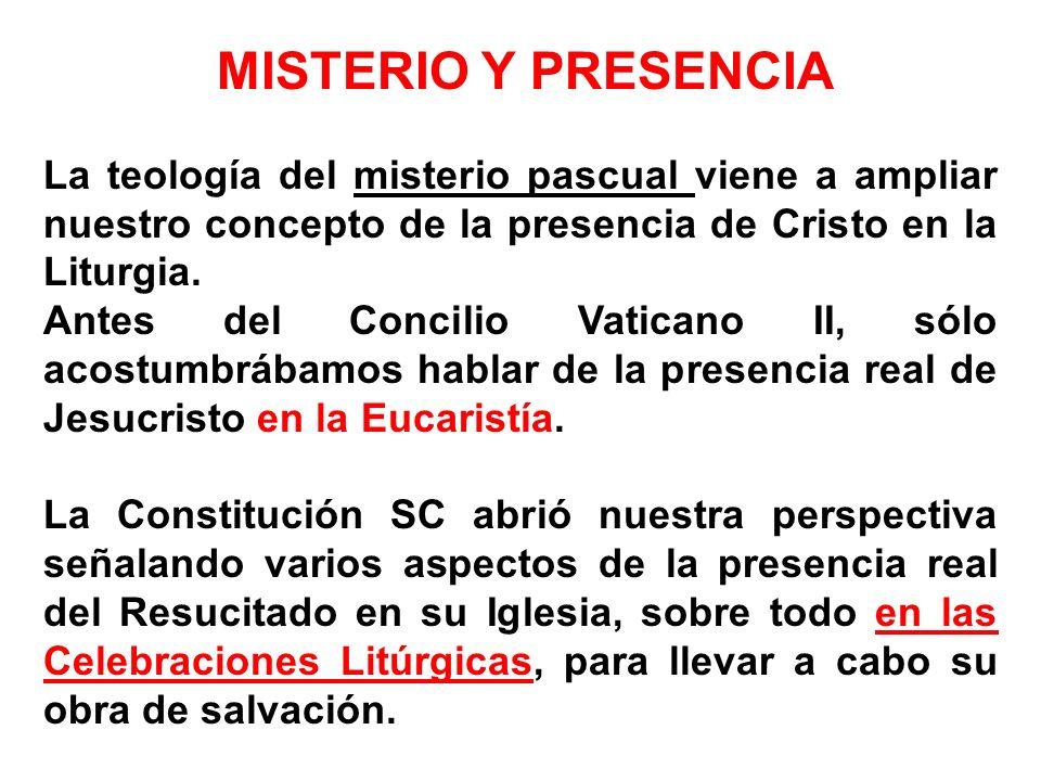 MISTERIO Y PRESENCIA La teología del misterio pascual viene a ampliar nuestro concepto de la presencia de Cristo en la Liturgia. Antes del Concilio Va