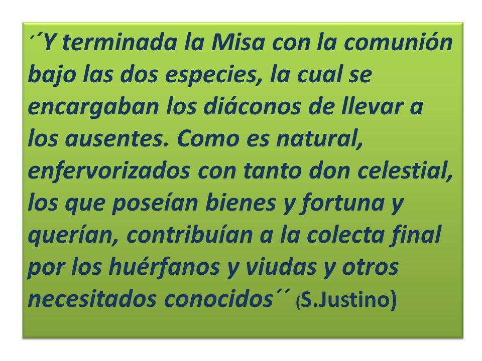 ´ ´Y terminada la Misa con la comunión bajo las dos especies, la cual se encargaban los diáconos de llevar a los ausentes. Como es natural, enfervoriz