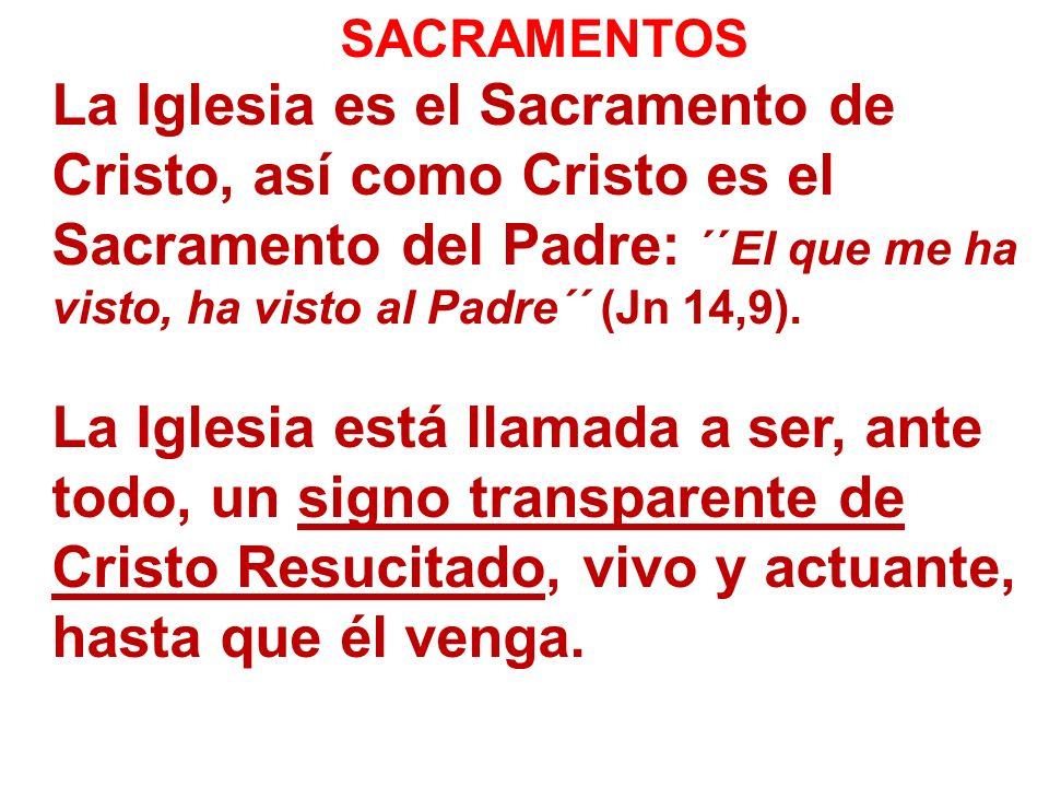 SACRAMENTOS La Iglesia es el Sacramento de Cristo, así como Cristo es el Sacramento del Padre: ´´El que me ha visto, ha visto al Padre´´ (Jn 14,9). La