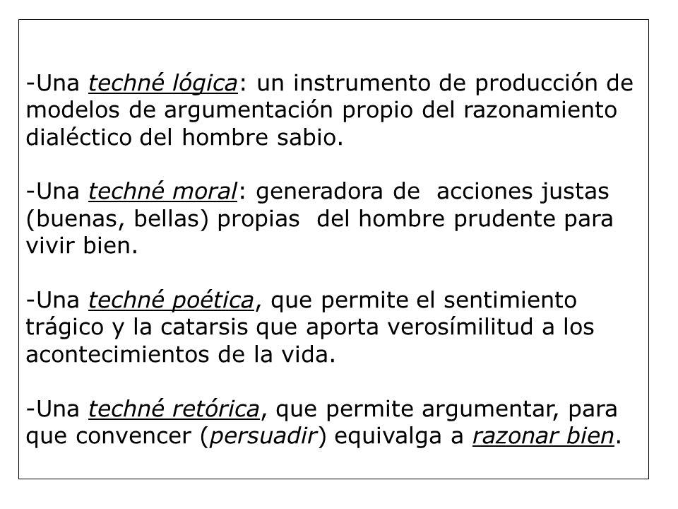 -Una techné lógica: un instrumento de producción de modelos de argumentación propio del razonamiento dialéctico del hombre sabio.