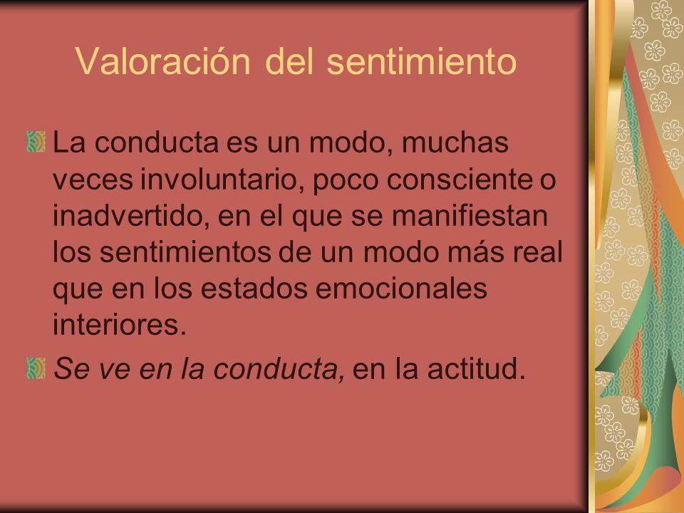 Valoración del sentimiento La conducta es un modo, muchas veces involuntario, poco consciente o inadvertido, en el que se manifiestan los sentimientos de un modo más real que en los estados emocionales interiores.