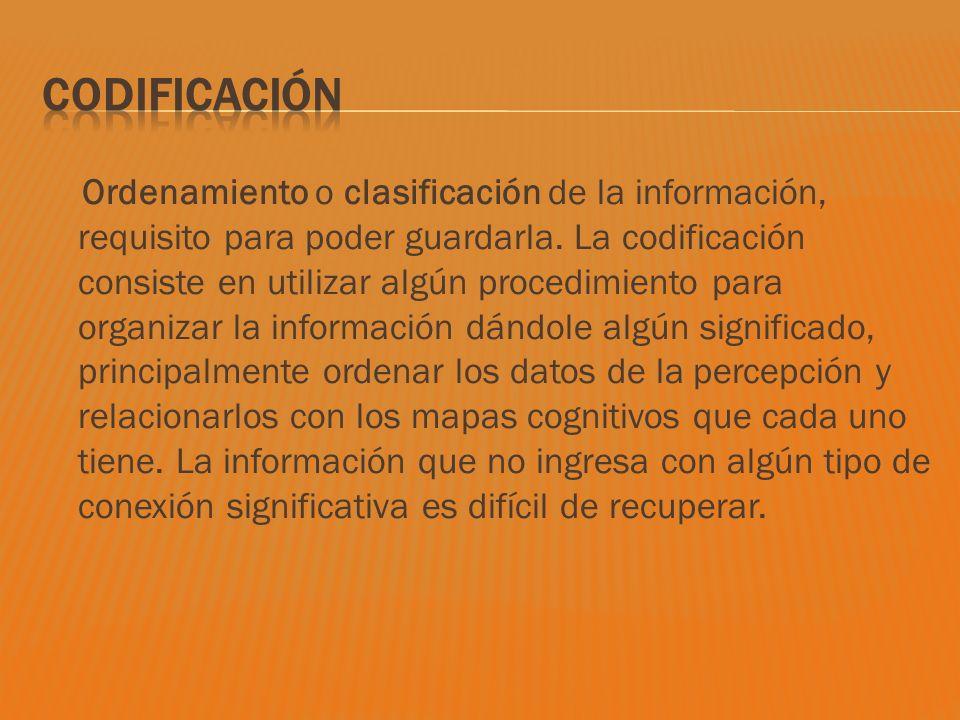 Ordenamiento o clasificación de la información, requisito para poder guardarla. La codificación consiste en utilizar algún procedimiento para organiza