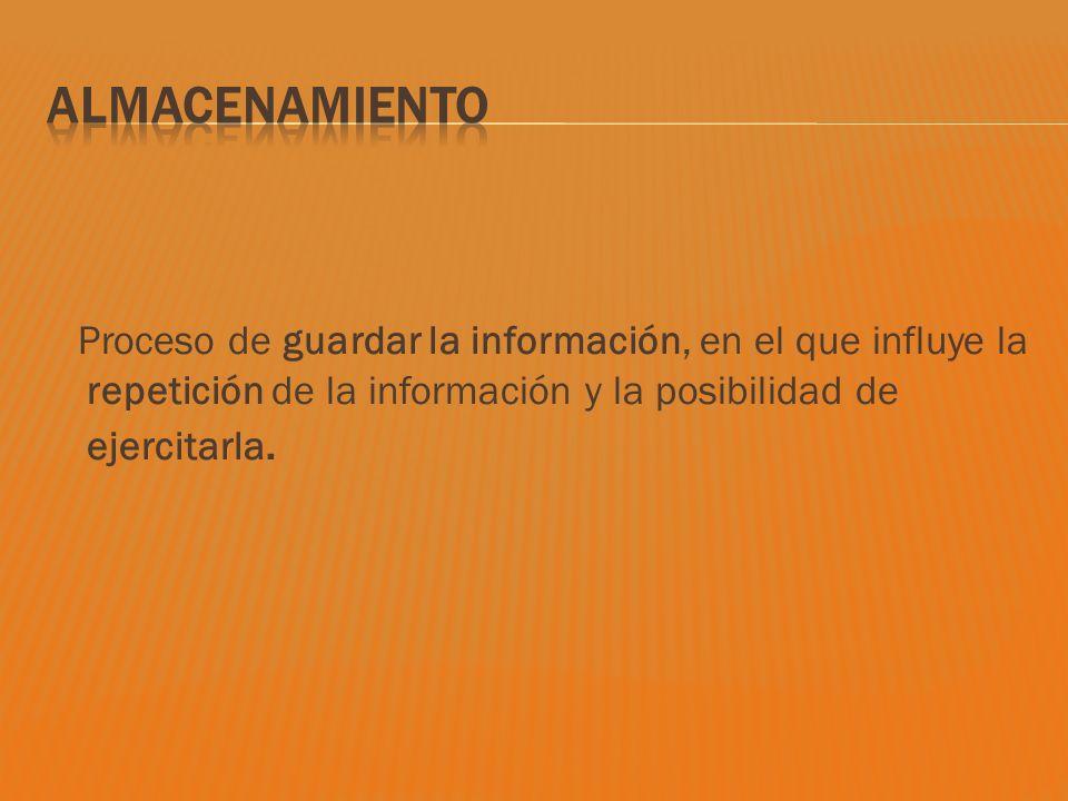 Proceso de guardar la información, en el que influye la repetición de la información y la posibilidad de ejercitarla.
