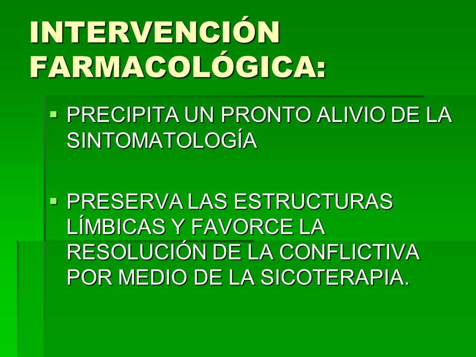 INTERVENCIÓN FARMACOLÓGICA: PRECIPITA UN PRONTO ALIVIO DE LA SINTOMATOLOGÍA PRECIPITA UN PRONTO ALIVIO DE LA SINTOMATOLOGÍA PRESERVA LAS ESTRUCTURAS L