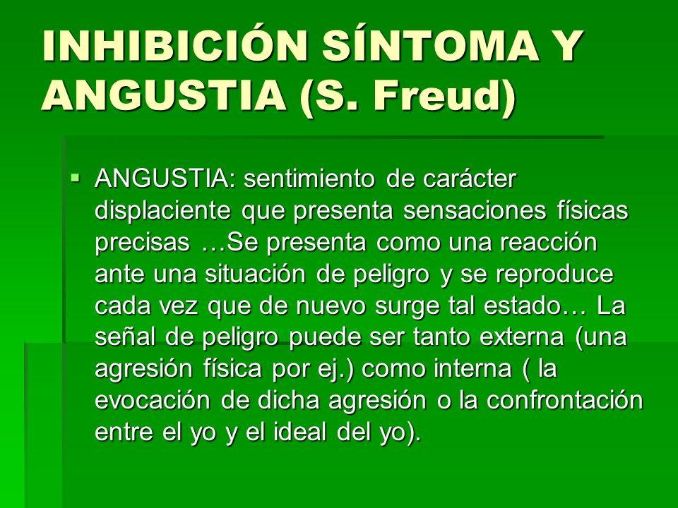 INHIBICIÓN SÍNTOMA Y ANGUSTIA (S. Freud) ANGUSTIA: sentimiento de carácter displaciente que presenta sensaciones físicas precisas …Se presenta como un
