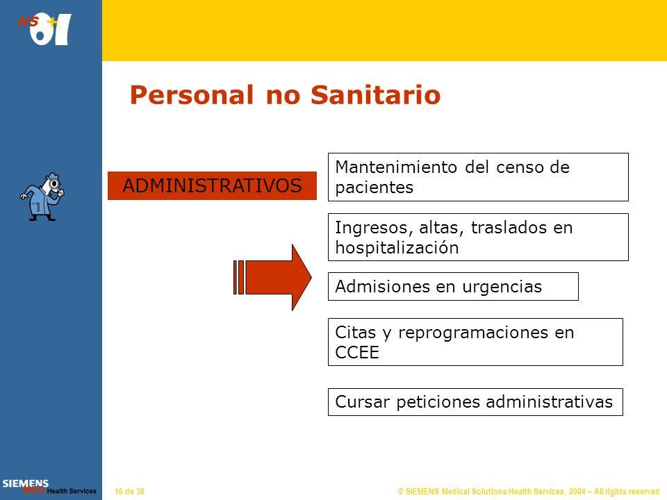 © SIEMENS Medical Solutions Health Services, 2004 – All rights reserved HS 15 de 38 Personal Sanitario PERSONAL AUXILIAR Mantenimiento de almacenes o