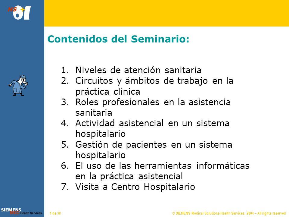 © SIEMENS Medical Solutions Health Services, 2004 – All rights reserved HS 71 de 38 Citas y visitas Cita: es una visita planificada para un paciente en una consulta o agenda y día determinado.