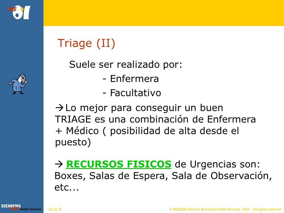 © SIEMENS Medical Solutions Health Services, 2004 – All rights reserved HS 21 de 38 Triage (I) Clasificación de atención basada en la Gravedad: Inmedi