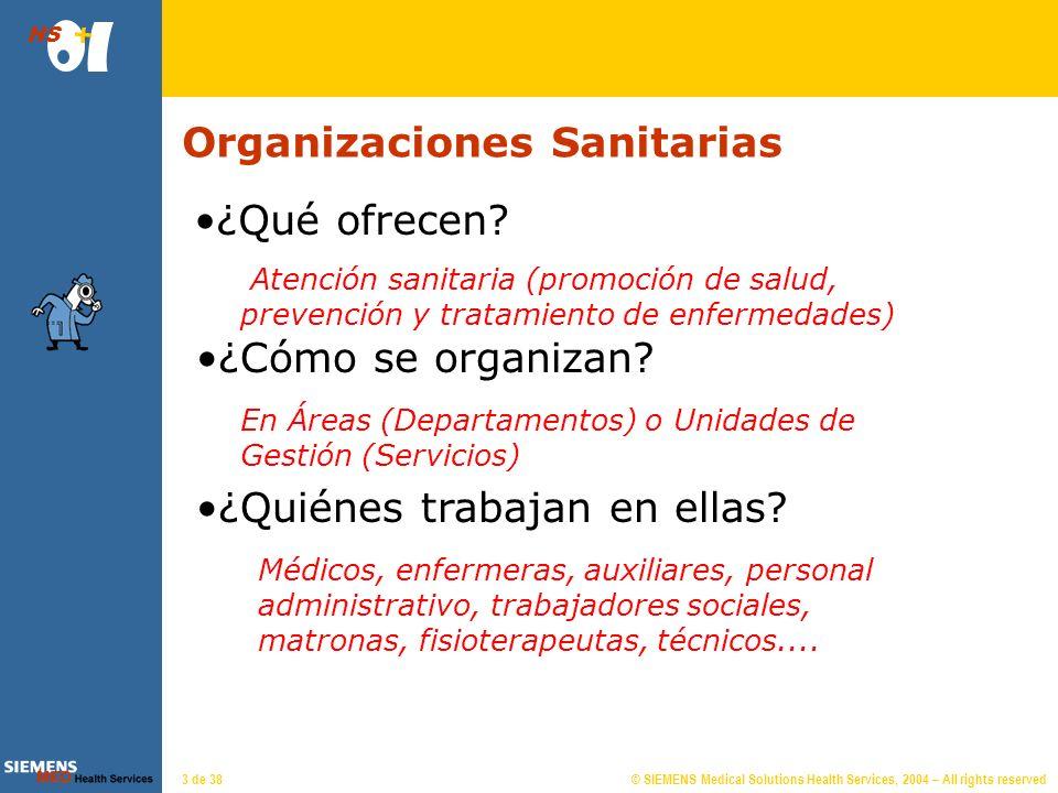 © SIEMENS Medical Solutions Health Services, 2004 – All rights reserved HS 3 de 38 Organizaciones Sanitarias Atención sanitaria (promoción de salud, prevención y tratamiento de enfermedades) ¿Cómo se organizan.
