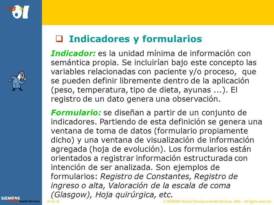 © SIEMENS Medical Solutions Health Services, 2004 – All rights reserved HS 44 de 38 Proceso: Embarazo - Parto Fecha Inicio Fecha Fin Anotaciones Infor