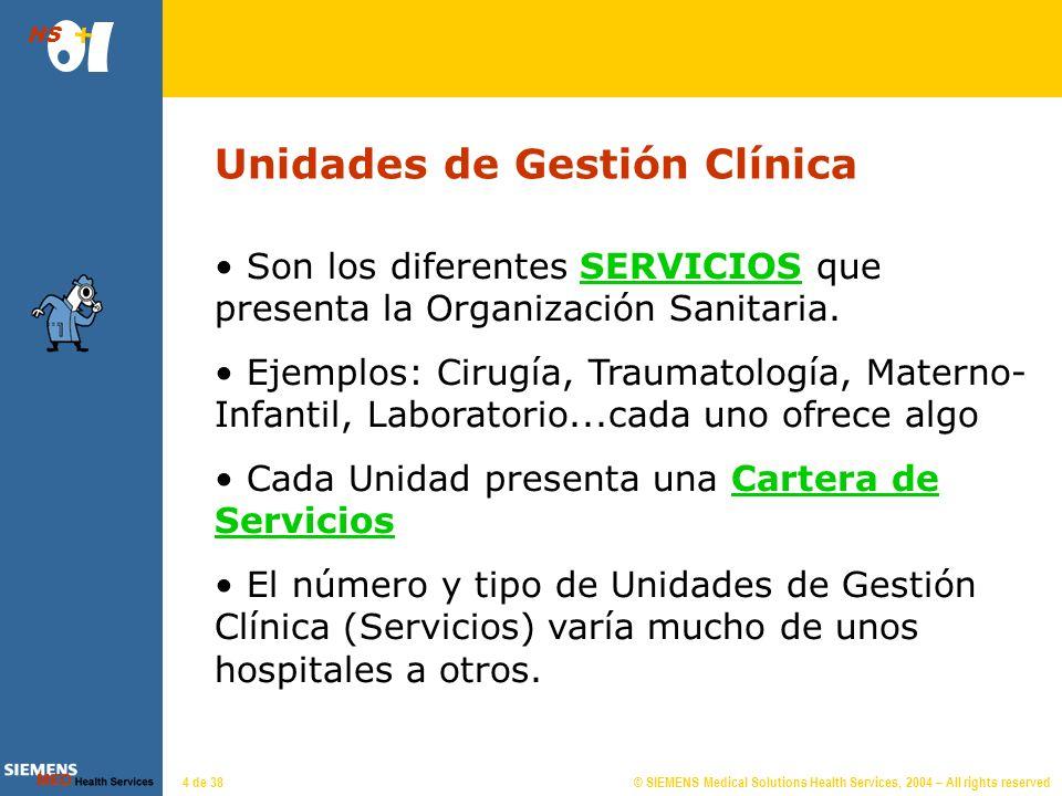 © SIEMENS Medical Solutions Health Services, 2004 – All rights reserved HS 4 de 38 Unidades de Gestión Clínica Son los diferentes SERVICIOS que presenta la Organización Sanitaria.