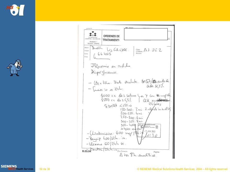 © SIEMENS Medical Solutions Health Services, 2004 – All rights reserved HS 58 de 38 Prescripciones Muestra el conjunto de líneas de prescripción farma
