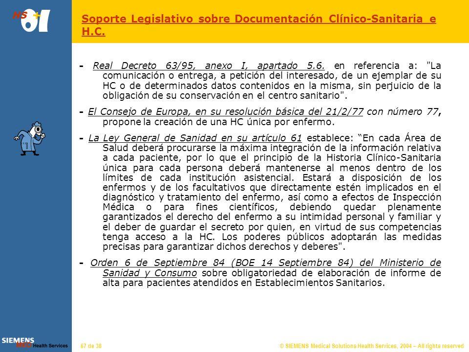 © SIEMENS Medical Solutions Health Services, 2004 – All rights reserved HS 66 de 38 Ley Orgánica 15/1999 de Protección de Datos de Carácter Personal: