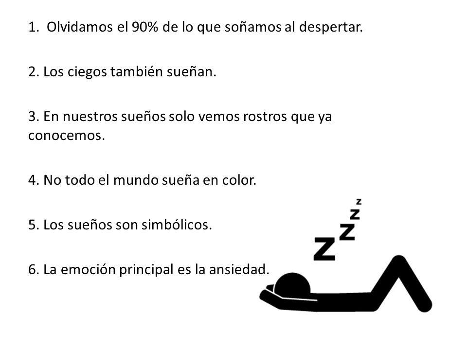 1. Olvidamos el 90% de lo que soñamos al despertar. 2. Los ciegos también sueñan. 3. En nuestros sueños solo vemos rostros que ya conocemos. 4. No tod