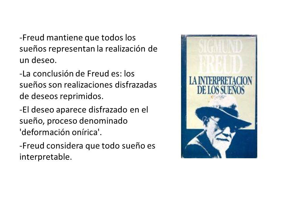 -Freud mantiene que todos los sueños representan la realización de un deseo. -La conclusión de Freud es: los sueños son realizaciones disfrazadas de d
