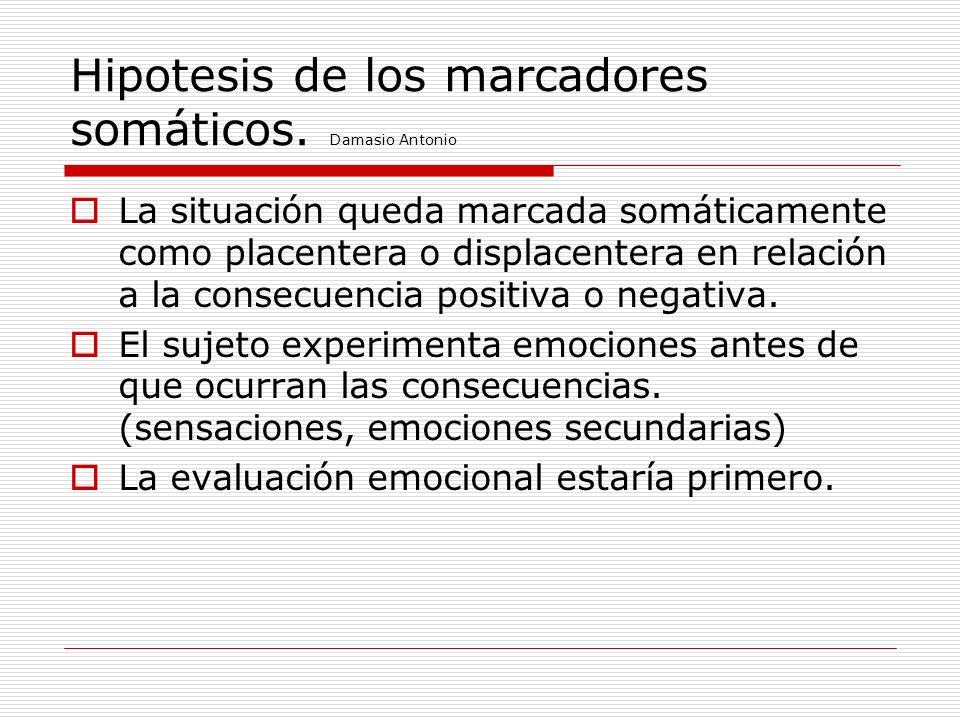 Hipotesis de los marcadores somáticos. Damasio Antonio La situación queda marcada somáticamente como placentera o displacentera en relación a la conse