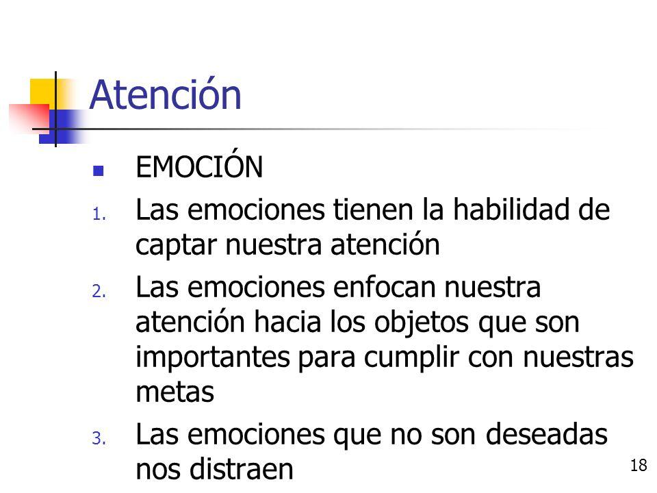 Efectos de las emociones Atención Memoria Eficiencia Juicio 17