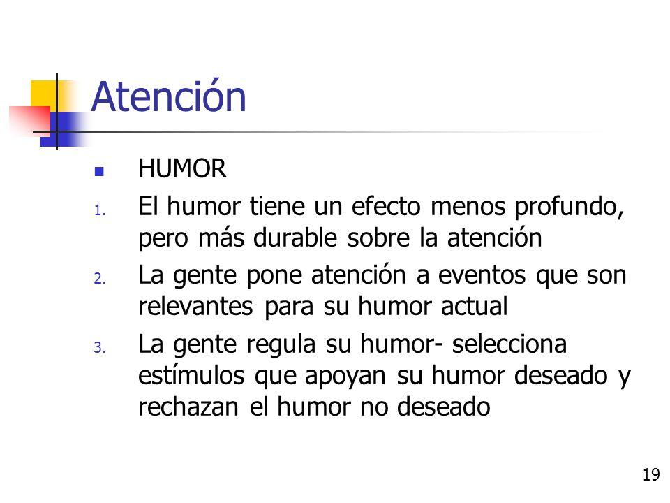 Atención EMOCIÓN 1. Las emociones tienen la habilidad de captar nuestra atención 2.
