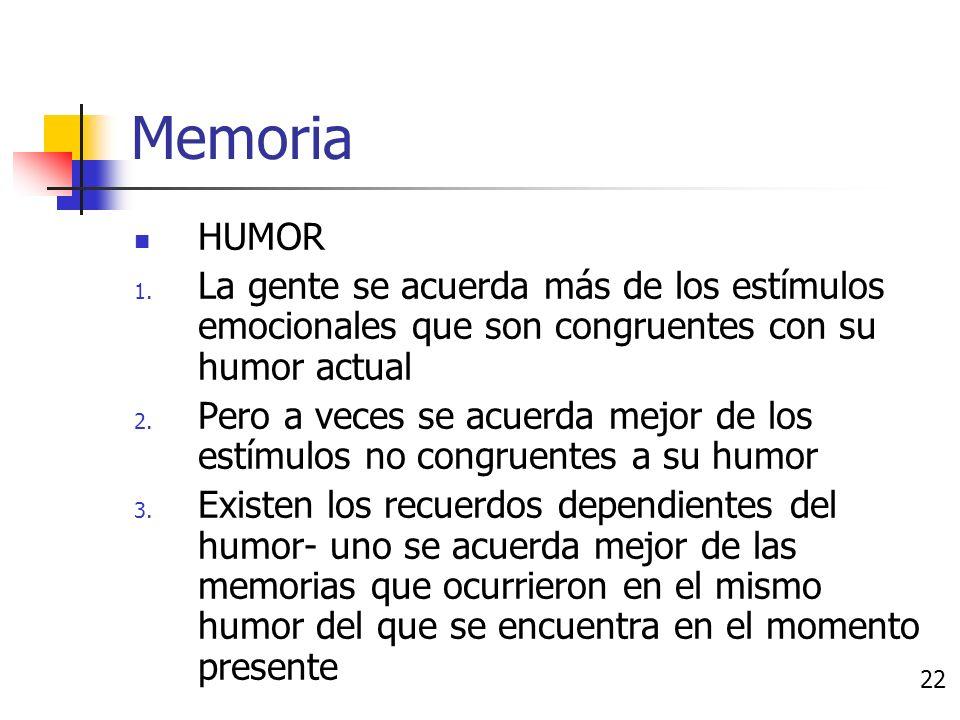 Memoria EMOCIÓN 1. Los estímulos emocionales se recuerdan mejor que los eventos no emocionales 2.