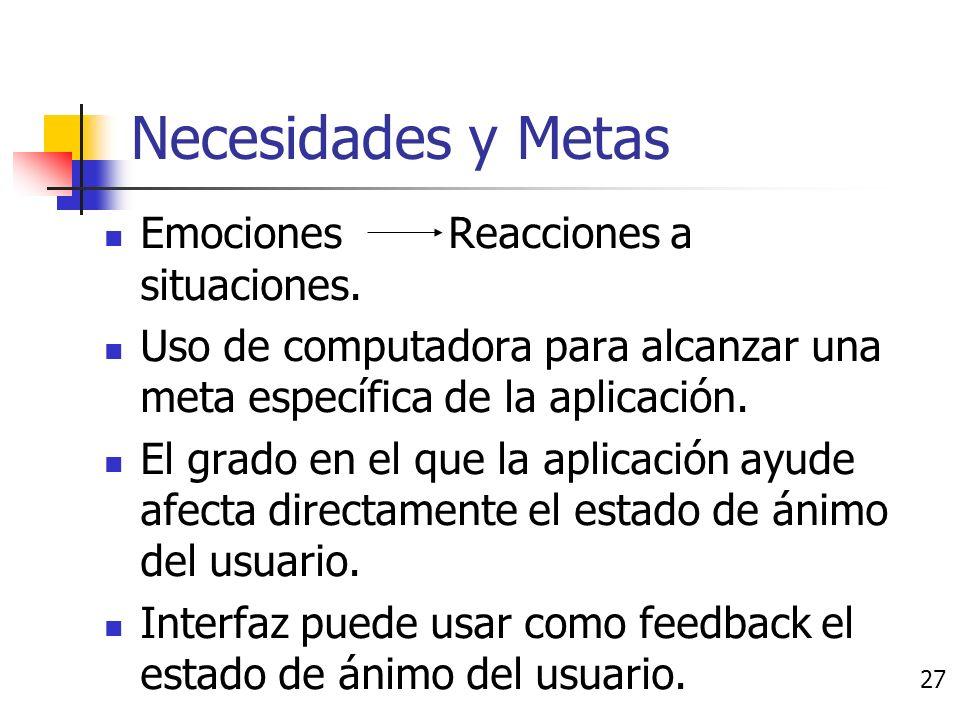 Causas de las emociones Necesidades y metas Teorías de apreciación Contagio Estado de ánimo y sentimientos Estado emocional previo 26