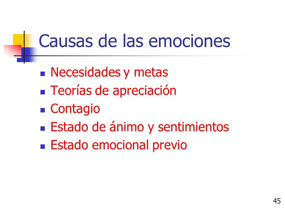 Estado de ánimo y sentimientos Los sentimientos se derivan de: Directamente de las experiencias También puede ser de los estereotipos 44