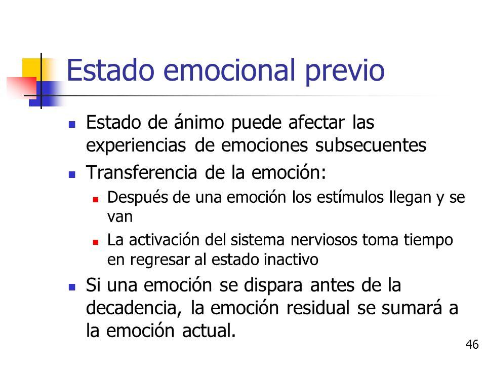 Causas de las emociones Necesidades y metas Teorías de apreciación Contagio Estado de ánimo y sentimientos Estado emocional previo 45