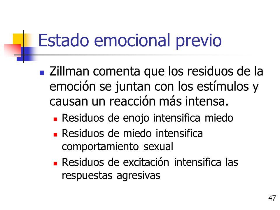 Estado emocional previo Estado de ánimo puede afectar las experiencias de emociones subsecuentes Transferencia de la emoción: Después de una emoción los estímulos llegan y se van La activación del sistema nerviosos toma tiempo en regresar al estado inactivo Si una emoción se dispara antes de la decadencia, la emoción residual se sumará a la emoción actual.