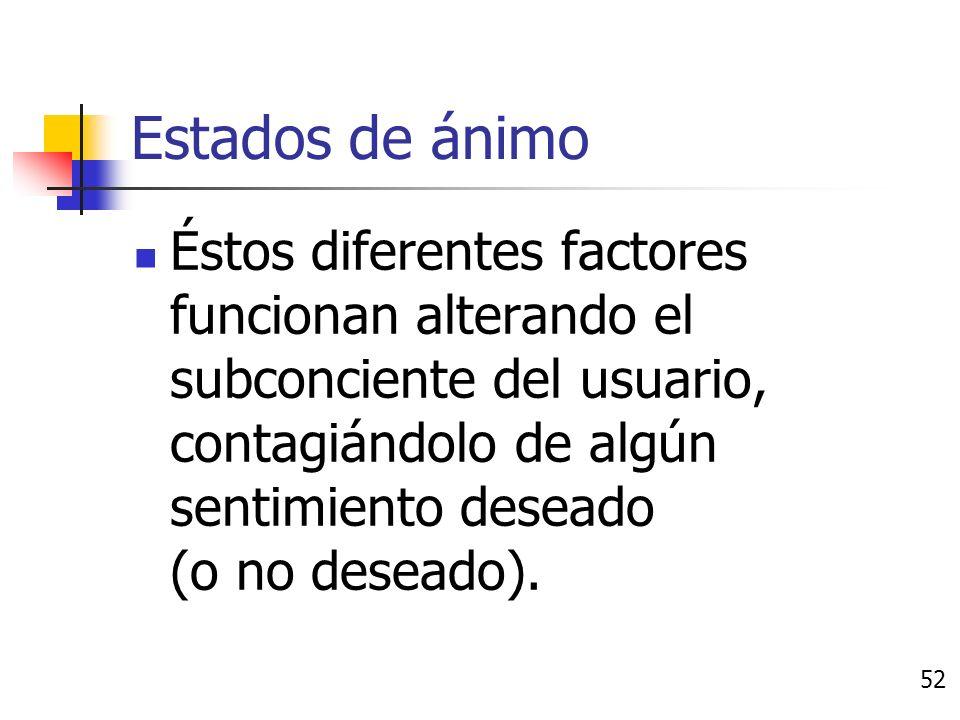 Estados de ánimo Existen varios factores que pueden alterar los estados de ánimo de los usuarios, entre ellos: Imágenes Colores Sonidos, etc.