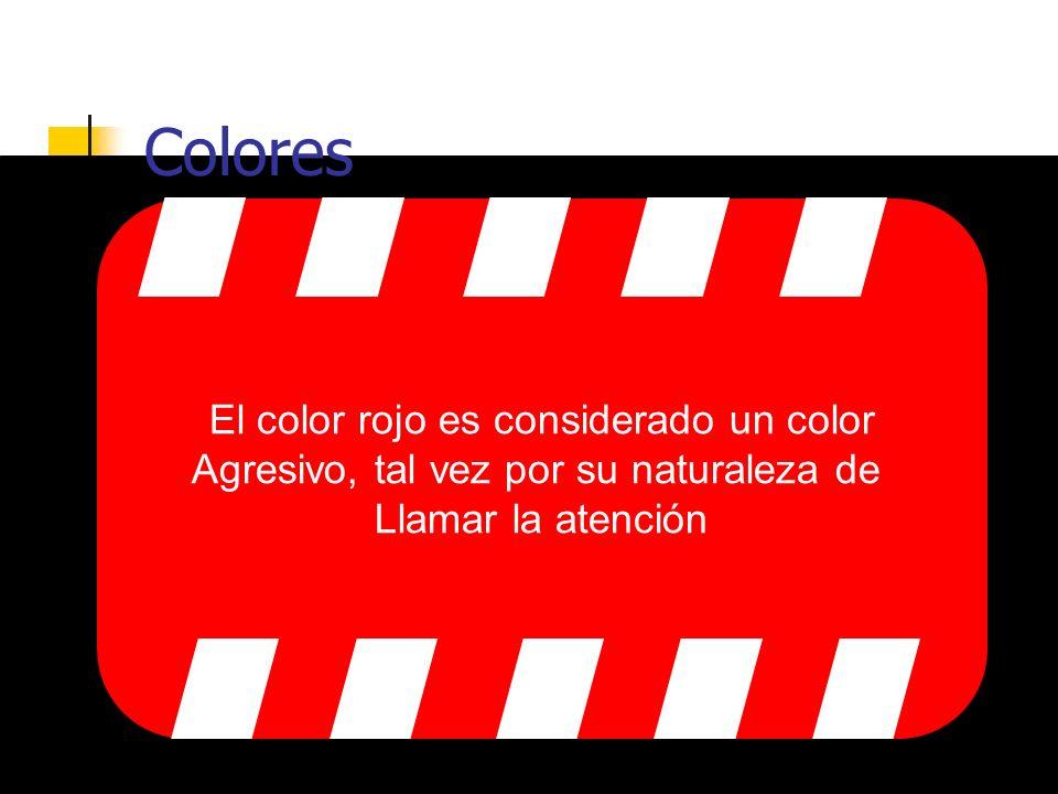 Colores El azul es considerado un color pacífico y puede alterar el estado de ánimo de un usuario, tranquilizándolo.
