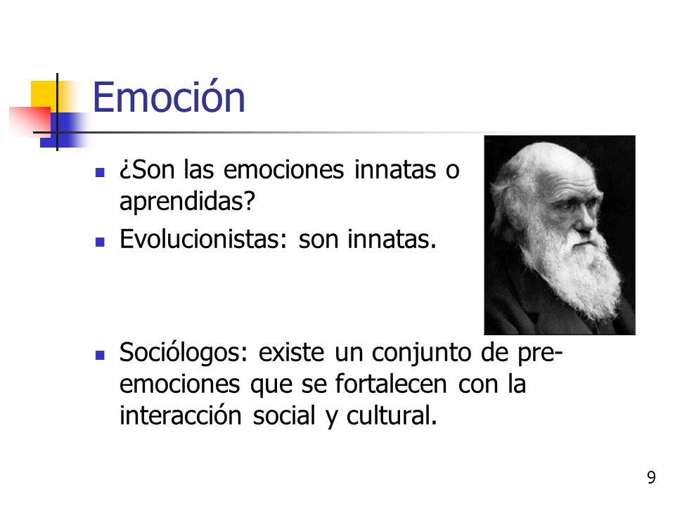 Emoción Sistema de emociones primarias y secundarias manejado por el sistema límbico. 8