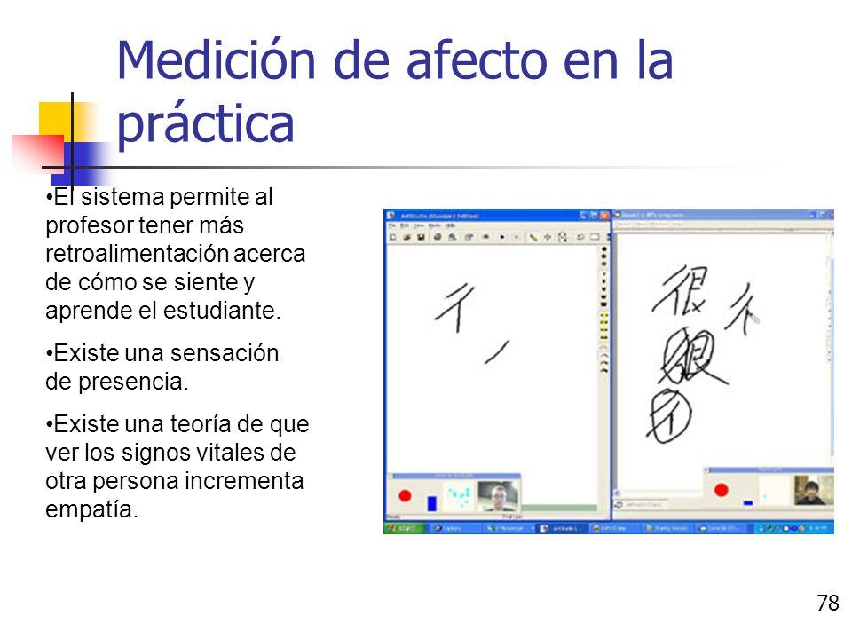 Medición de afecto en la práctica Una persona enseña a otra a aprender Kanji a través de la red. 77