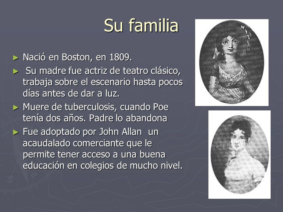 Su familia Nació en Boston, en 1809. Nació en Boston, en 1809. Su madre fue actriz de teatro clásico, trabaja sobre el escenario hasta pocos días ante